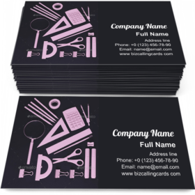 Above view of school tools Business Card Template