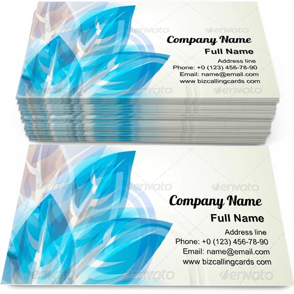 Sample of Abstract Blue Floral calling card design for advertisements marketing ideas and promote flower service branding identity