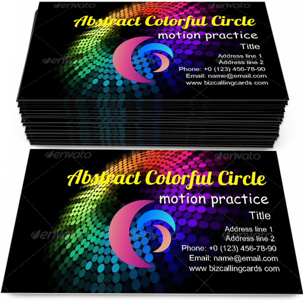 Sample of Abstract colorful circle calling card design for advertisements marketing ideas and promote motion practice branding identity