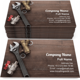 Adjustable Wrench And Pipes Business Card Template