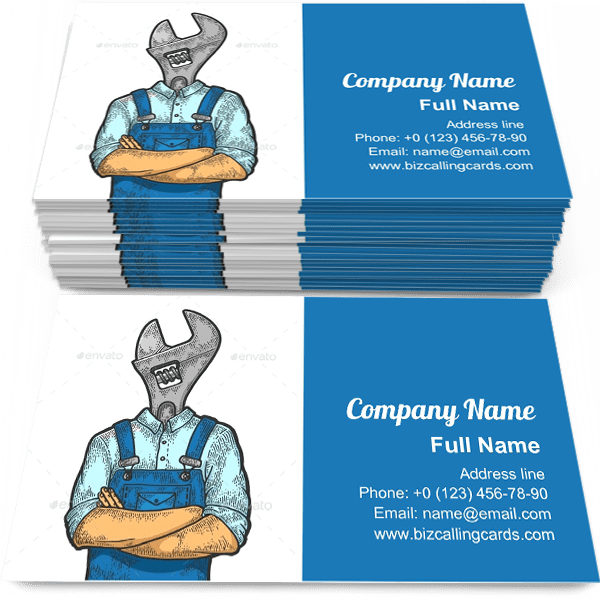 Sample of Adjustable Wrench Head business card design for advertisements marketing ideas and promote construction worker branding identity