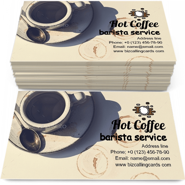 Sample of Aerial view of hot coffee calling card design for advertisements marketing ideas and promote barista service branding identity