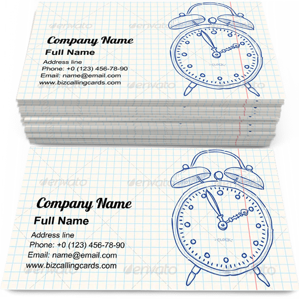 Sample of Alarm Clock Doodle business card design for advertisements marketing ideas and promote school branding identity