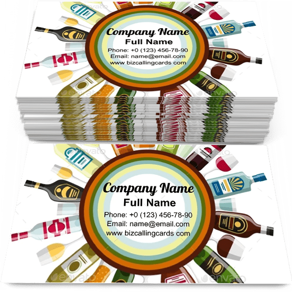 Sample of Alcohol Drinks Bottles calling card design for advertisements marketing ideas and promote beverage activities branding identity