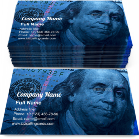American Dollars in UV rays Business Card Template