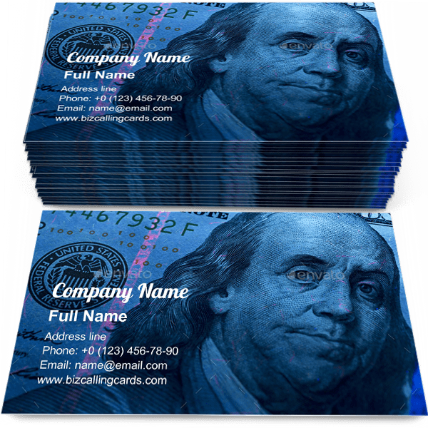 Sample of American Dollars in UV rays calling card design for advertisements marketing ideas and promote money exchange branding identity