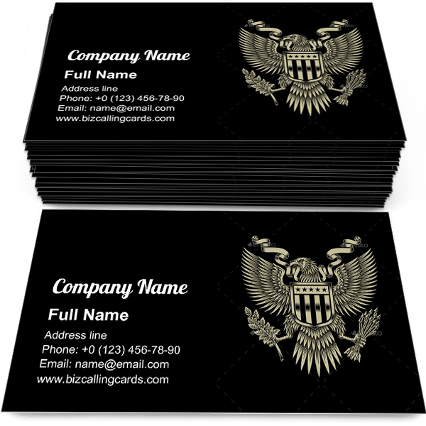 Sample of American Eagle Emblem business card design for advertisements marketing ideas and promote united states patriotism branding identity