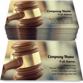Arbitrate wooden gavel Business Card Template