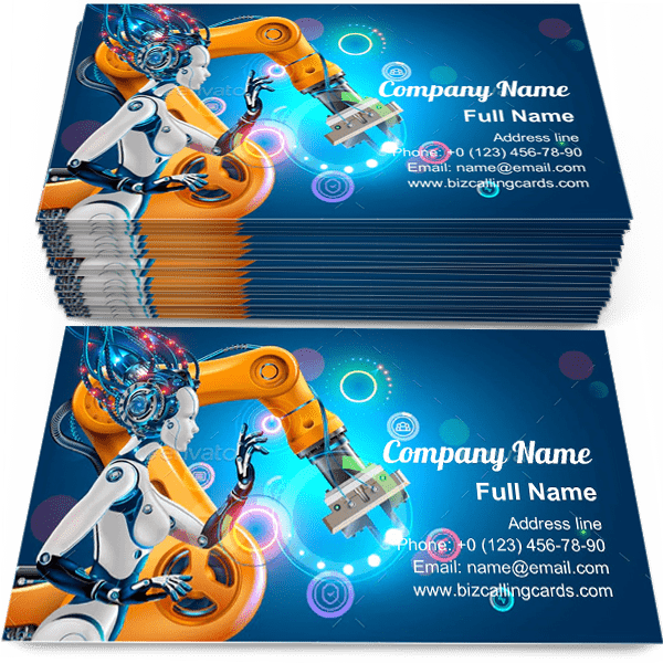 Sample of Artificial Intelligence calling card design for advertisements marketing ideas and promote Automation industry branding identity
