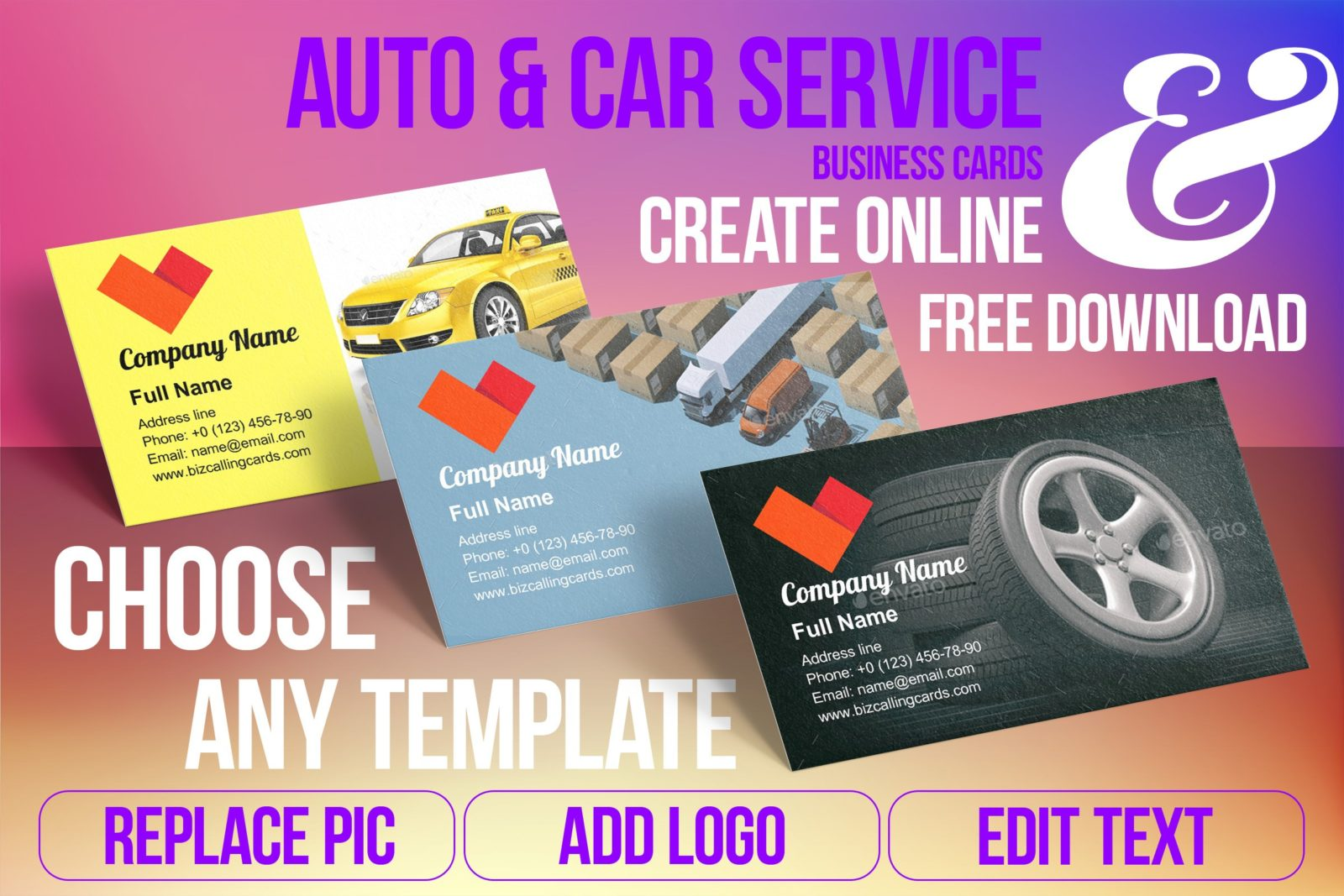 Business Card Templates For Auto & Car Service Free Download