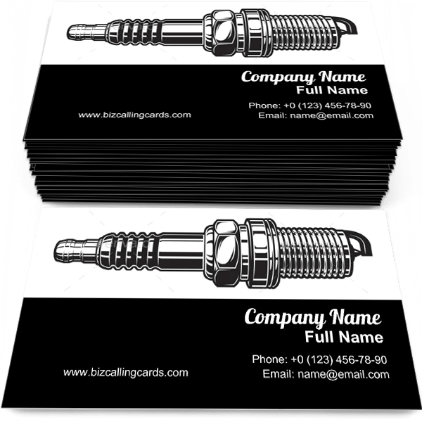 Sample of Automobile Spark Plug business card design for advertisements marketing ideas and promote Autoelectric branding identity