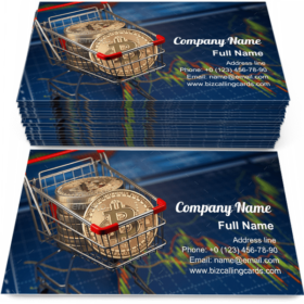 BTC coins in the shopping cart Business Card Template