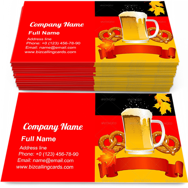 Sample of Bavarian Culture business card design for advertisements marketing ideas and promote oktoberfest branding identity