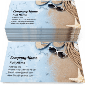 Beach accessories on stone Business Card Template