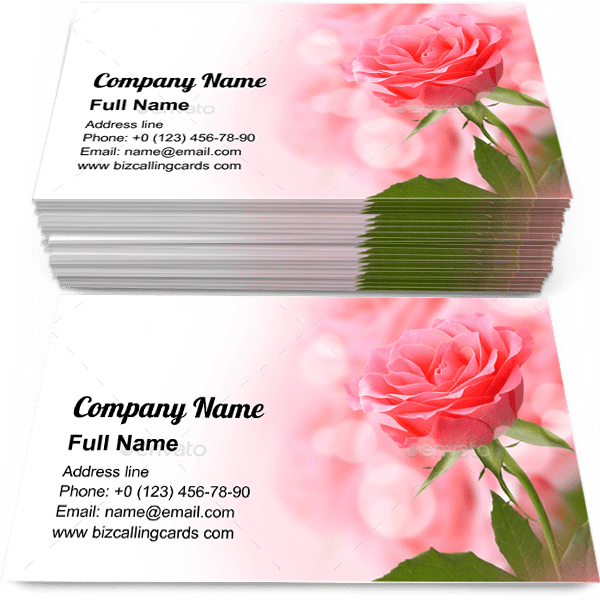 Sample of Beautiful Pink Rose business card design for advertisements marketing ideas and promote dating branding identity