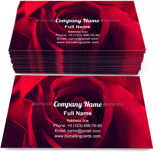 Sample of Beauty Red rose  calling card design for advertisements marketing ideas and promote blossom branding identity