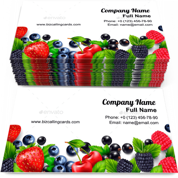 Sample of Berry fruit business card design for advertisements marketing ideas and promote harvest branding identity