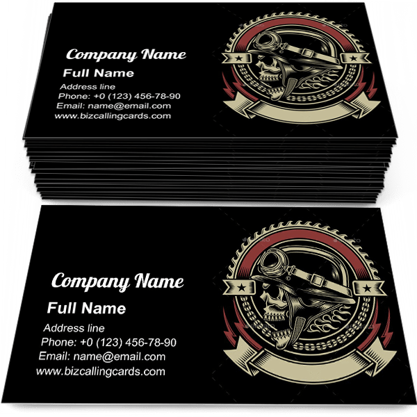 Sample of Biker Skull Emblem business card design for advertisements marketing ideas and promote motorbike branding identity