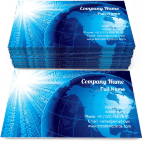 Binary codes and earth Business Card Template