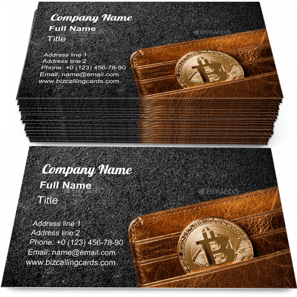 Sample of Bitcoin coin in wallet business card design for advertisements marketing ideas and promote e-business branding identity