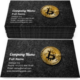 Bitcoin coin on black Business Card Template