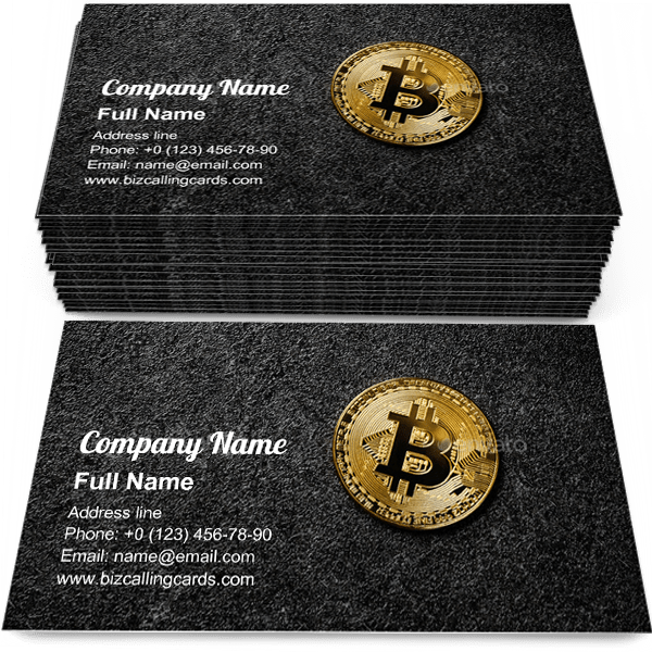 Sample of Bitcoin coin on black business card design for advertisements marketing ideas and promote blockchain branding identity