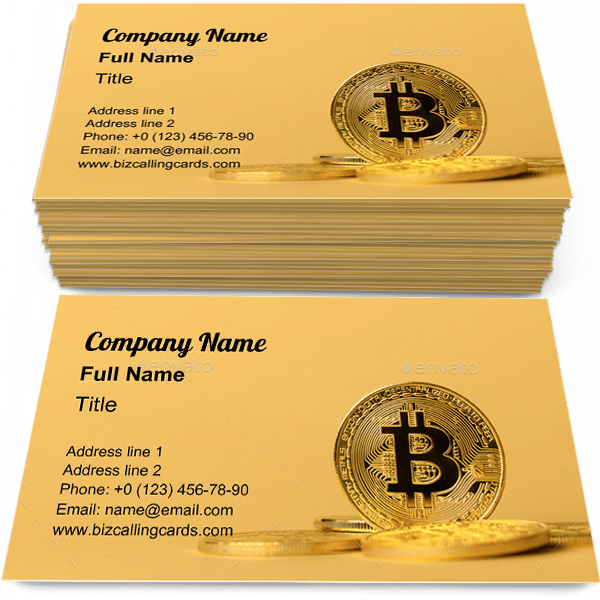 Sample of Bitcoin in pile of coins calling card design for advertisements marketing ideas and promote Virtual money branding identity