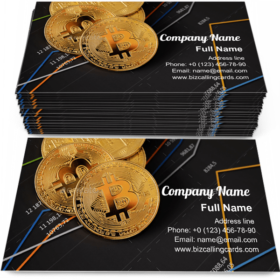 Bitcoin on financial charts Business Card Template