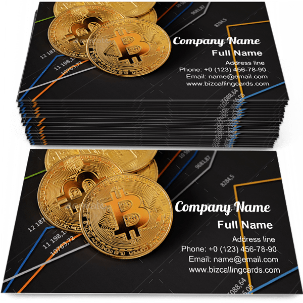 Sample of Bitcoin on financial charts business card design for advertisements marketing ideas and promote Virtual money branding identity