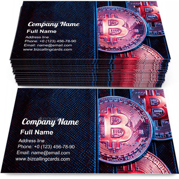 Sample of Bitcoin sticking out of a wallet calling card design for advertisements marketing ideas and promote blockchain Cashless branding identity
