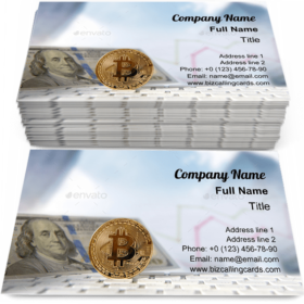 Bitcoin with financial chart Business Card Template