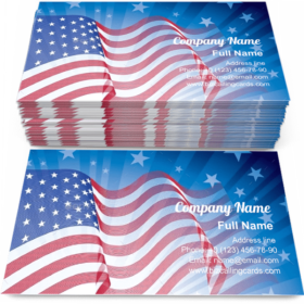 Blowing US flag Business Card Template