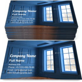 Blue Interior empty room Business Card Template
