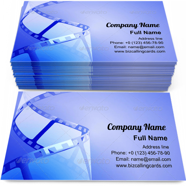 Sample of Blue Tone Film business card design for advertisements marketing ideas and promote cinematography branding identity