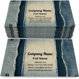 Blue jeans texture Business Card Template