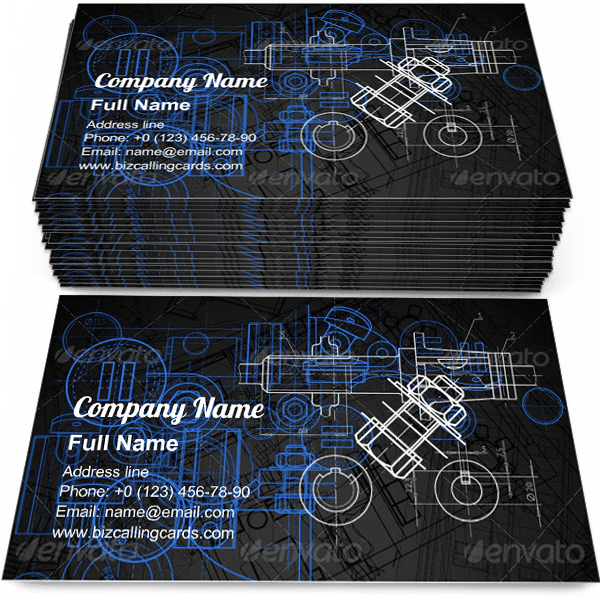 Sample of Blueprint Construction business card design for advertisements marketing ideas and promote machine part branding identity