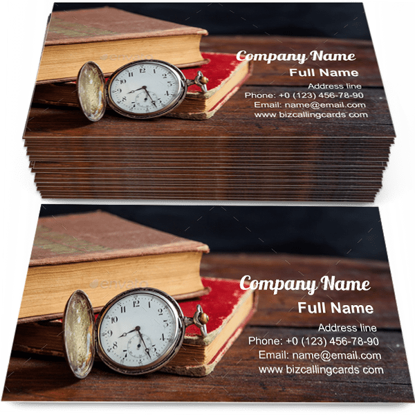 Sample of Books and pocket watch business card design for advertisements marketing ideas and promote knowledge branding identity
