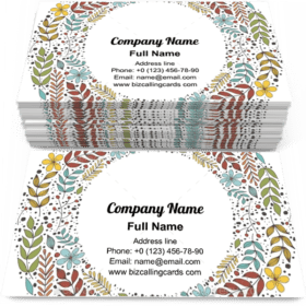 Border with leaf and flowers Business Card Template