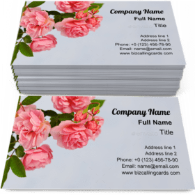 Branch of pink climbing rose Business Card Template