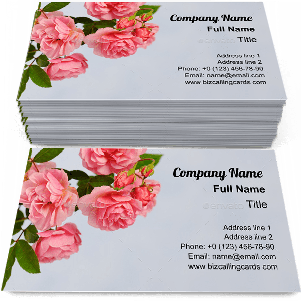Sample of Branch of pink climbing rose business card design for advertisements marketing ideas and promote floral branding identity