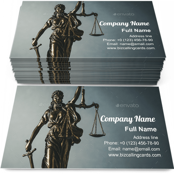 Sample of Brass statue of Justice calling card design for advertisements marketing ideas and promote legislation branding identity