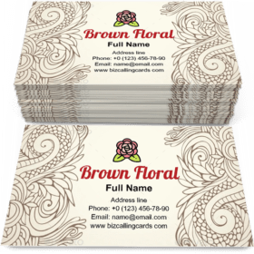 Brown Outline Floral Business Card Template