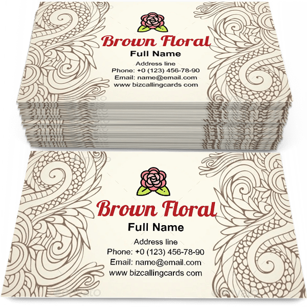 Sample of Brown Outline Floral calling card design for advertisements marketing ideas and promote indian trade branding identity