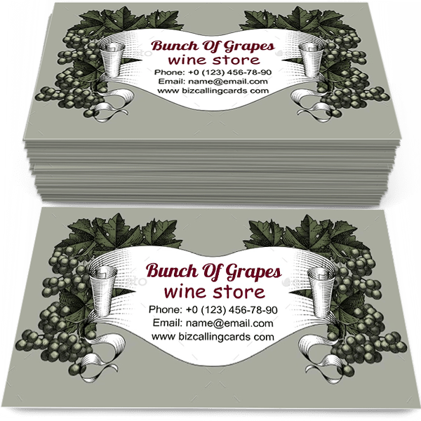 Sample of Bunch of Grapes with Leaves calling card design for advertisements marketing ideas and promote wine store branding identity