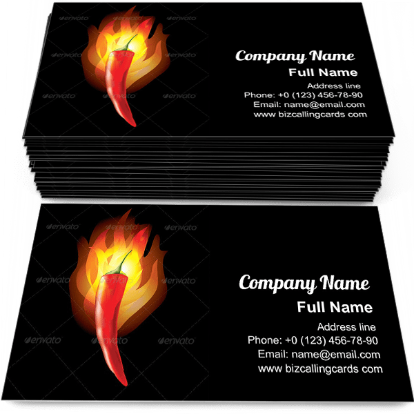Sample of Burning Chilli Pepper calling card design for advertisements marketing ideas and promote mexican meal trade branding identity