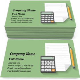 Calculator with Paper and Pencil Business Card Template