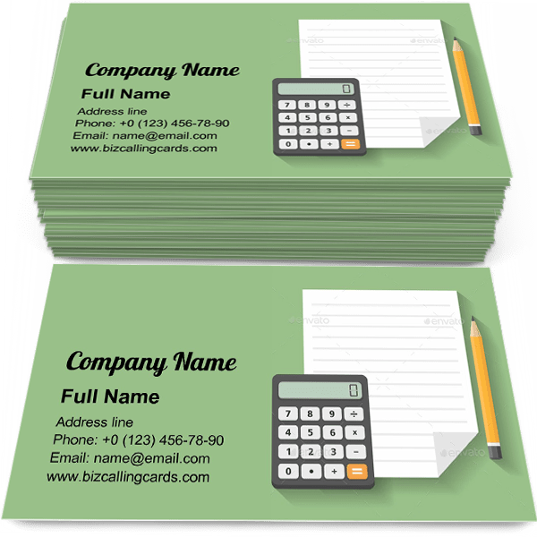 Sample of Calculator with Paper and Pencil business card design for advertisements marketing ideas and promote financial branding identity