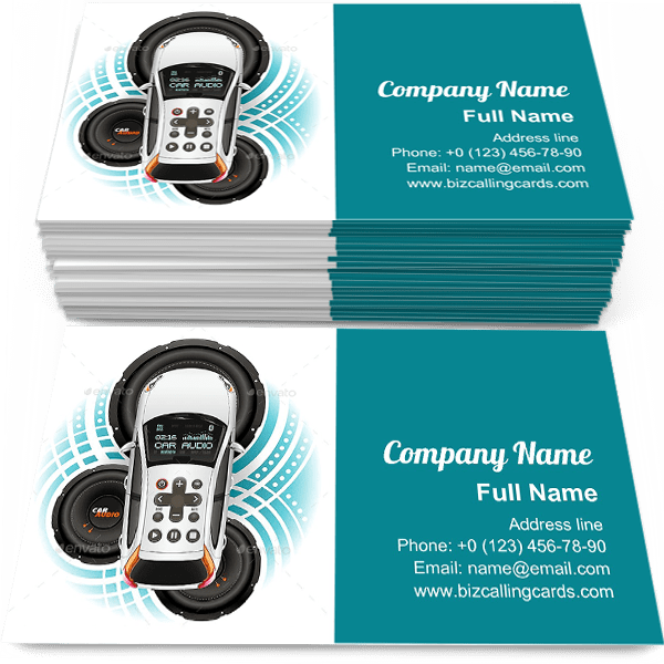 Sample of Car Audio System business card design for advertisements marketing ideas and promote Car sound system branding identity