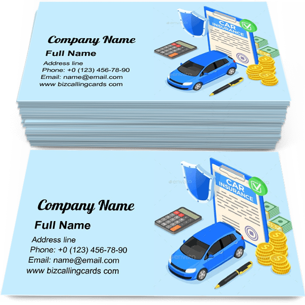 Sample of Car Insurance protection calling card design for advertisements marketing ideas and promote insurant service branding identity