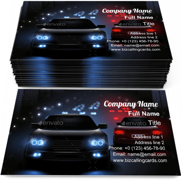 Sample of Car LED Lights calling card design for advertisements marketing ideas and promote automobile traffic lights branding identity
